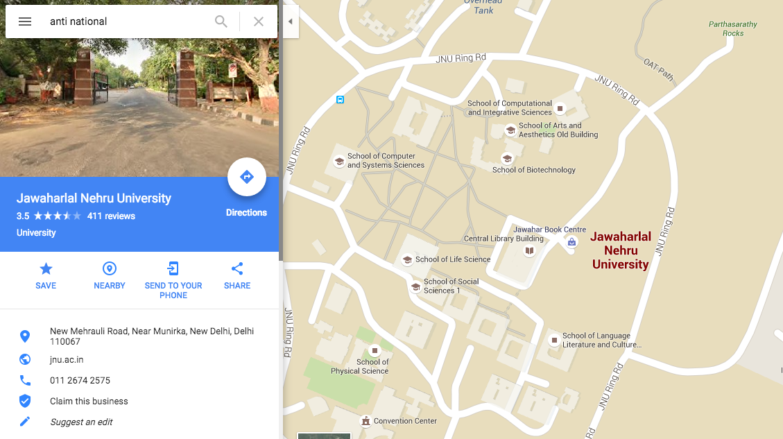 Google Maps Points to JNU when you search for Anti National