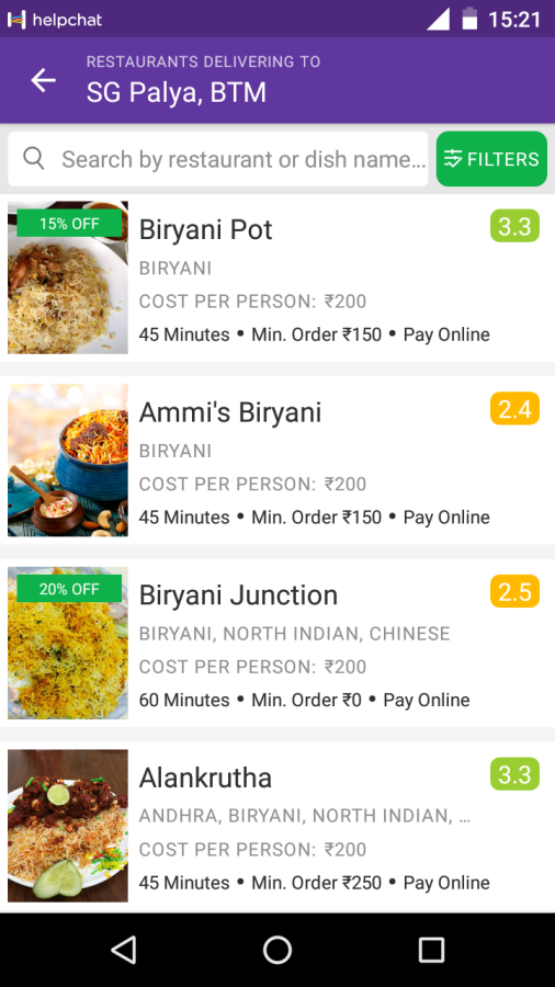 High On Food Zomato