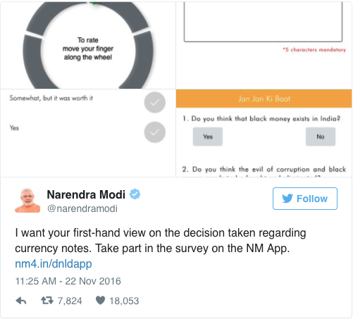 PM Modi Tweet to Get Feedback on Demonetisation