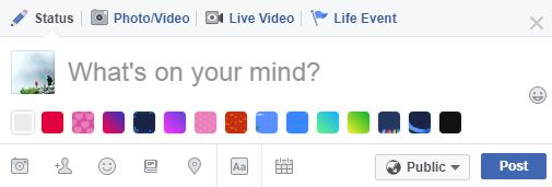 statuses with colorful backgrounds